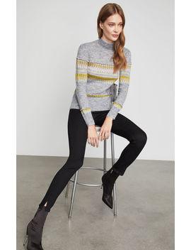 Mixed Intarsia Turtleneck Sweater by Bcbgmaxazria