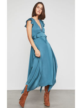 Lace Trimmed Draped Ruffle Dress by Bcbgmaxazria