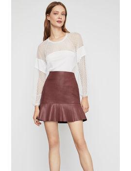 Faux Leather Flounced Skirt by Bcbgmaxazria