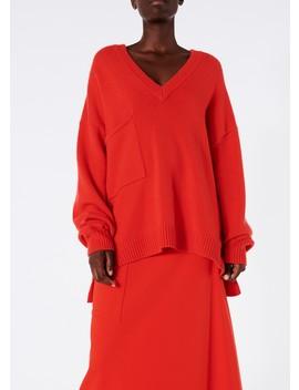 Cashmere V Neck Patch Pocket Oversized Pullover by Tibi