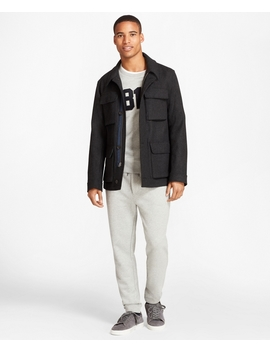 Wool Blend Melton Barn Coat by Brooks Brothers