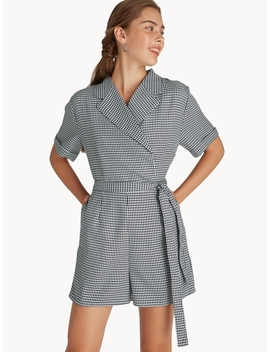 Double Breasted Gingham Waist Tie Romper by Pomelo