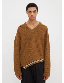 V Neck Knit Sweater In Beige by Lanvin