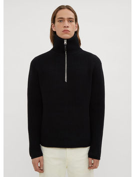 Ribbed Knit Half Zip Sweater In Black by Acne Studios