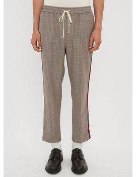 Web Stripe Check Track Pants In Brown by Gucci