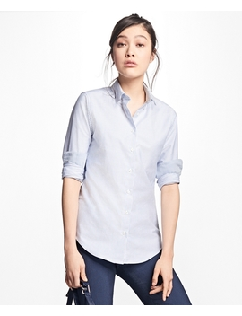 Classic Fit Supima® Cotton Oxford Stripe Forward Point Shirt by Brooks Brothers