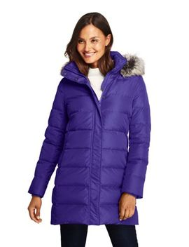 Women's Winter Long Down Coat With Faux Fur Hood by Lands' End