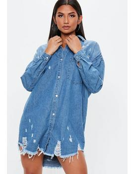 Blue Bleachwash Distressed Denim Shirt Dress by Missguided