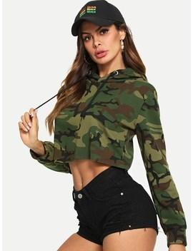 Sweatshirt Mit Camouflagemuster Und Kapuze by Sheinside