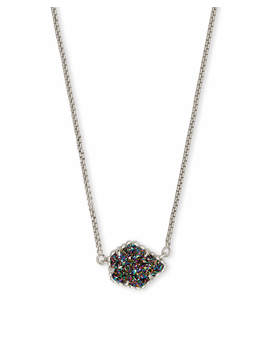 Tess Silver Pendant Necklace In Multicolor Drusy by Kendra Scott
