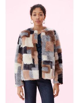 La Vie Patchwork Faux Fur Coat by Rebecca Taylor