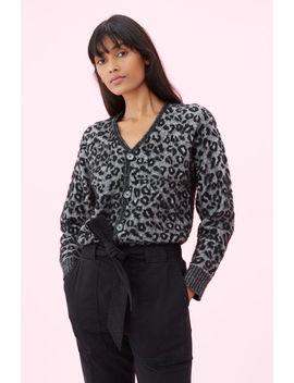 La Vie Leopard Jacquard Cardigan by Rebecca Taylor
