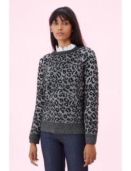 La Vie Leopard Jacquard Pullover by Rebecca Taylor