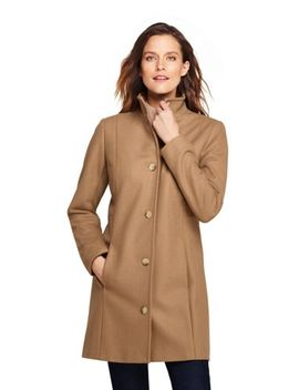 Women's Fit And Flare Long Wool Coat by Lands' End