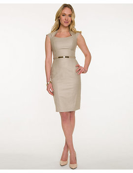 Twill Belted Sheath Dress by Le Chateau