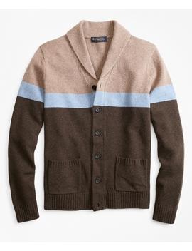 Merino Wool Color Block Shawl Collar Cardigan by Brooks Brothers