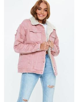 Pink Borg Lined Denim Jacket by Missguided