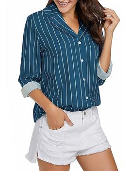 Blue Roll Up Sleeves Notch Collar Striped Button Up Top by Lookbook Store