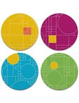 Frank Lloyd Wright Coonley Playhouse Dots Set 4 Absorbent Coasters by Bonanza