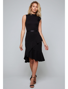 Jersey Ruffled Midi Dress by Bebe