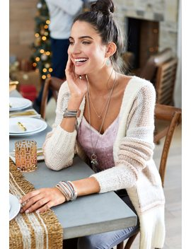 Marled Soft Stripe Cardigan by Maurices