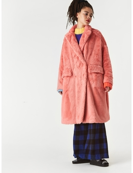 Faux Rabbit Fur Coat   Coral Pink by Neul