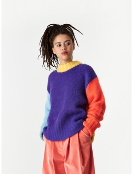 Colour Puzzles Brushed Sweater   Violet/Yellow/Blue by Neul