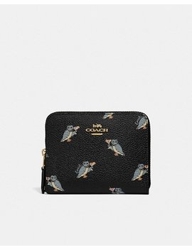 Small Zip Around Wallet With Party Owl Print by Coach