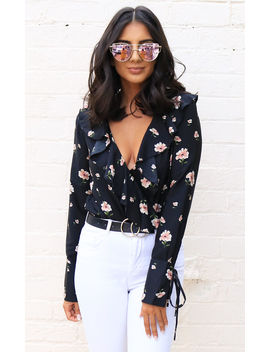 Scattered Floral Print Wrap Over Frill Long Sleeve Blouse Bodysuit In Black & Pink by One Nation Clothing