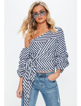 Blue Stripe Bardot Ruffle Sleeve Shirt by Missguided