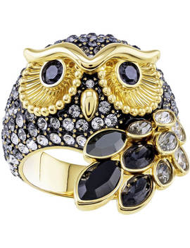 March Owl Motif Ring, Multi Colored, Gold Plating by Swarovski