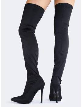 Pointed Toe Thigh High Boot by Zooshoo