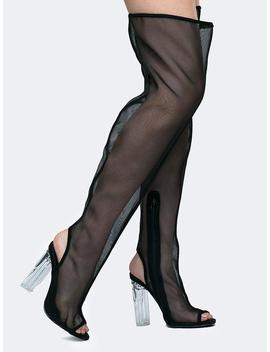Thigh High Lucite Heel Boots by Zooshoo