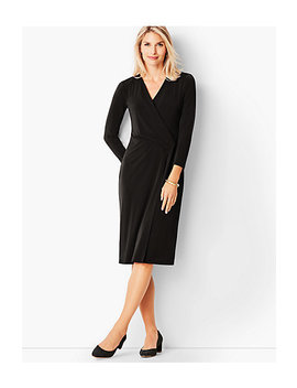 Crepe Faux Wrap Sheath Dress by Talbots