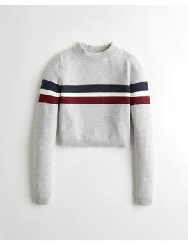 Crop Mockneck Sweater by Hollister
