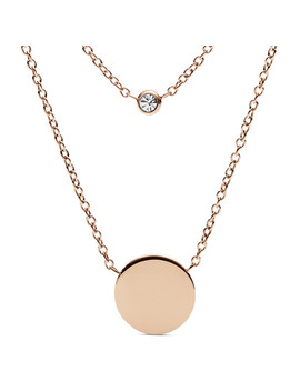 Engravable Double Glitz Rose Gold Tone Steel Necklace by Fossil