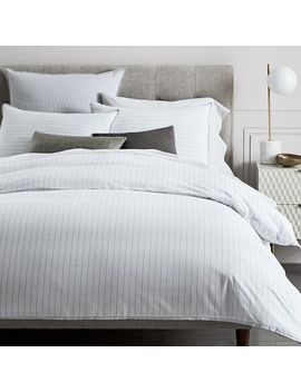 Organic Washed Cotton Stripe Duvet Cover, Full/Queen, Slate by West Elm