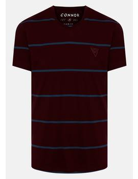 Wine Geary V Neck Tee by Connor