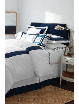 300 Supima Solid Border Duvet Cover by Lands' End