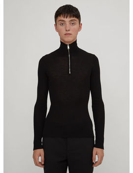 Slim Ribbed Half Zip Roll Neck Sweater In Black by Prada