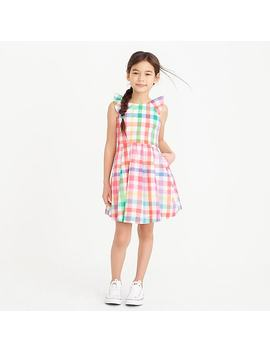 Girls' Ruffle Dress In Rainbow Gingham by J.Crew