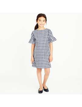 Girls' Flutter Sleeve Dress In Gingham by J.Crew