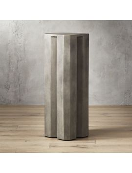 Hex Tall Grey Cement Pedestal Table by Crate&Barrel