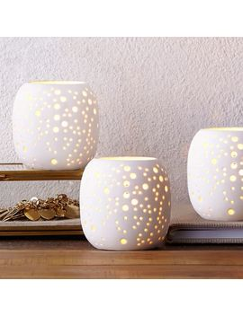 Pierced Porcelain Tealights   Constellation by West Elm