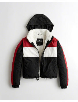 Sherpa Lined Full Zip Windbreaker by Hollister