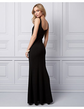 Knit Crêpe V Neck Gown by Le Chateau