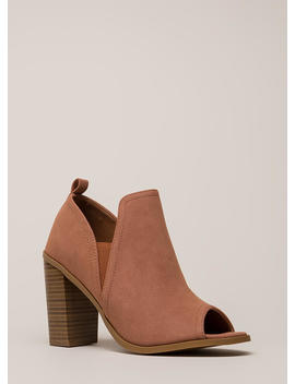 Out And About Chunky Peep Toe Heels by Go Jane