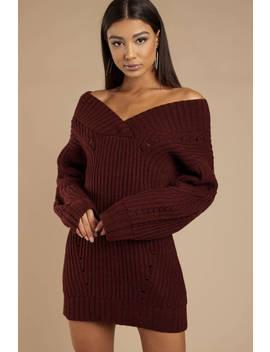 Alise Black Chunky Knit Sweater Dress by Tobi