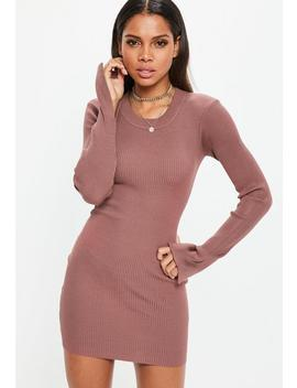 Mocha Long Sleeve Rib Knitted Mini Dress by Missguided