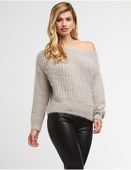 Fuzzy Knit Pullover Sweater by Charlotte Russe